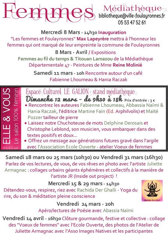 Programme Femmes à la médiathèque