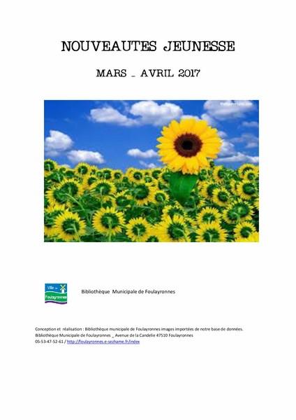 nouveautés catalogue jeunesse mars avril 2017
