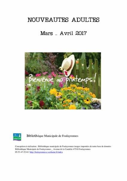 nouveautés catalogue adulte mars avril 2017